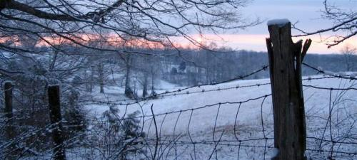 sunrise on snowy field